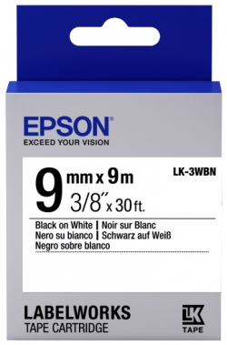 Картридж с лентой Epson LK3WBN принтеров LW-300/400/400VP/700 Std Blk/Wht 9mm/9m
