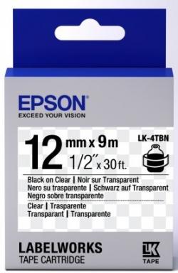 Картридж с лентой Epson LK4TBN принтеров LW-300/400/400VP/700 Clear Blk/Clear 12mm/9m