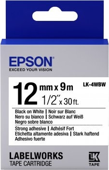 Картридж с лентой Epson LK4WBW принтеров LW-300/400/400VP/700 Strng adh Blk/Wht 12mm/9m