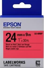 Картридж с лентой Epson LK6RBP принтеров LW-700 Pastel Blk/Red 24mm/9m