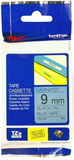Термо-лента Brother 9mm ламинированная, черный на голубом