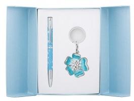"""Набір подарунковий """"Bloom"""": ручка кулькова + брелок, синій Langres"""