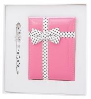 """Набір подарунковий """"Gloss"""": ручка кулькова + дзеркало, рожевий Langres"""