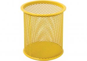 Подставка для ручек круглая Optima, d 85х100 мм, металл сетка, желтая OPTIMA