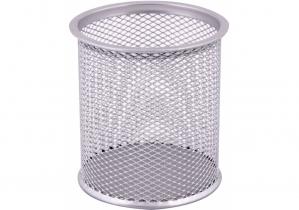 Подставка для ручек круглая Optima, d 85х100 мм, металл сетка, серебряная OPTIMA