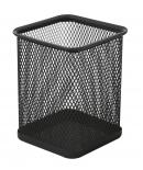 Подставка для ручек прямоугольная Optima, 80х80х100 мм, металл сетка, черная OPTIMA