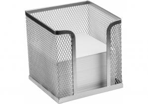 Подставка под бумагу для нототок Optima, 100х100х100 мм, металл сетка, серебряная OPTIMA