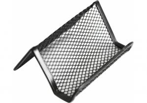 Подставка для визиток Optima, 105х90х50 мм, металл сетка, черная OPTIMA