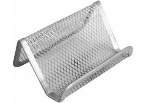 Подставка для визиток Optima, 105х90х50 мм, металл сетка, серебряная OPTIMA