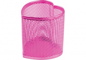 Подставка для ручек сердце Optima, 85х85х100 мм, металл сетка, розовая OPTIMA