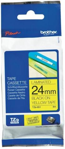 Термо-лента Brother 24mm ламинированная, черным на желтом